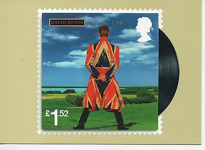 """David Bowie """"Earthling"""" album cover on 2017 postcard"""