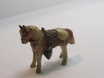 "Vintage Detailed Metal HORSE with Saddle Figurine 2-1/4"" Tall (Made in Japan)"