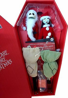 "NIGHTMARE BEFORE CHRISTMAS - Santa Jack and Sally - 16"" Coffin Doll SET NEW"