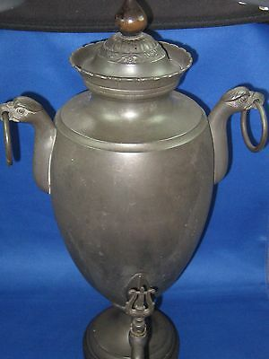 """17"""" Tall Antique German Embossed & Engraved Pewter Container/Pitcher w/Faucet"""