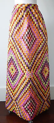 Vintage 70's Boho Multi-Color Patchwork Quilted Modesty Maxi Skirt Sz - XS