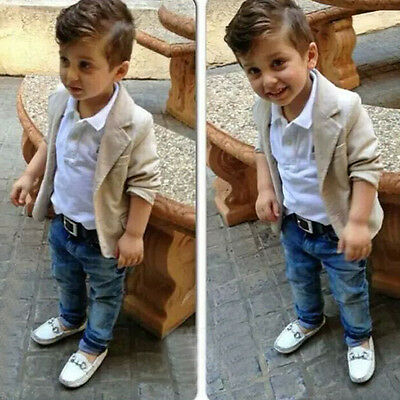 Toddler Kids Baby Boys Gentleman Coat Tops+Shirt+Denim Pants Clothes Outfits Set
