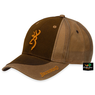 online retailer 0d1de 9e983 New Browning Two Tone Wax Cotton Hat Adjustable Ball Cap Buckmark Logo Brown