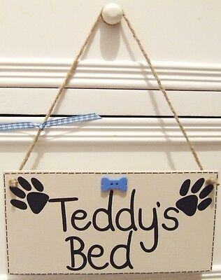 Handmade Personalised Pet Name Dog House Kennel Bed Plaque Sign Shabby Chic Gift