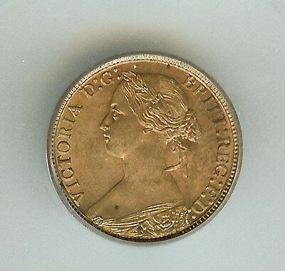 Great Britain 1873 Farthing  Km#747.2  Icg Ms65 Red Brown