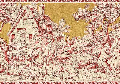 Wallpaper Border Wallpaper French Country Life Toile Rust Red Saffron Gold