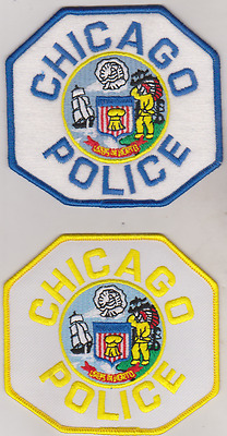 Chicago ILL Police patches, yellow & blue edges