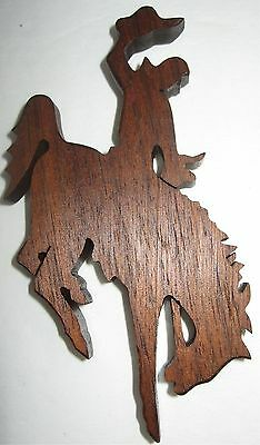 Wood Cowboy and Horse Fridge Magnet Wooden Bucking Bronco Rodeo