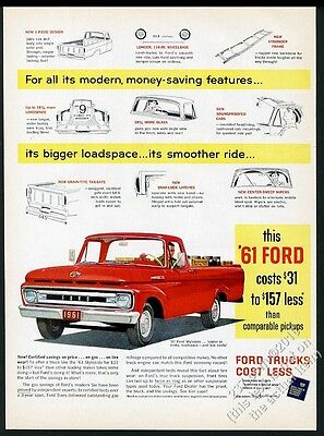 1961 Ford pickup red truck vintage print ad