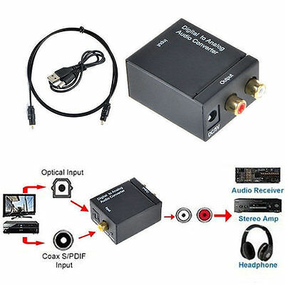 Coaxial RCA Digital Optical Toslink Signal to Analog Audio Converter Cable ZL