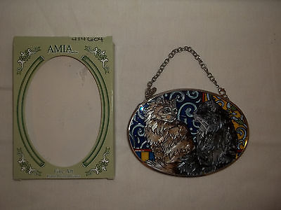 """Amia Hand Painted Glass Suncatcher Of Two Cats In Original Box 4 1/2"""" Wide"""