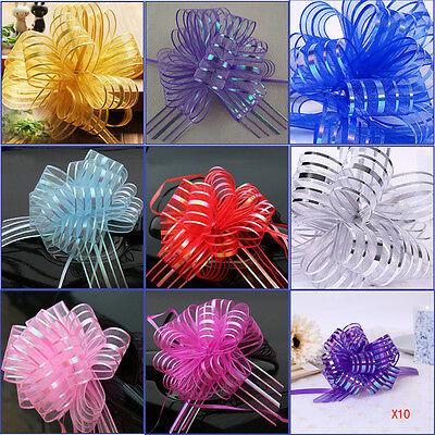 Hot 10Pcs 50mm Organza Ribbon Pull Bows Wedding Auto Car Decoration Gift Wrap