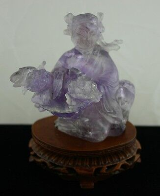 NICE!  Chinese Hand Carved Natural Amethyst Quartz Sculpture of an Asian Woman