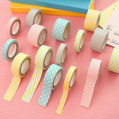 5 Rolls Colorful Adhesive Sticky Paper Tape Cute Washi Tape Crafts Cards Decor