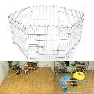 "25"" 6 Panel Foldable Dog Playpen Crate Fence Pet Cat Play Pen Exercise Cage"