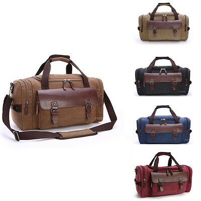 Mens Retro Vintage Genuine Leather Canvas Duffle Weekend Bag Lightweight Luggage