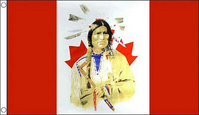CANADA with NATIVE RED INDIAN FLAG 5' x 3' Canadian Maple Leaf Flags