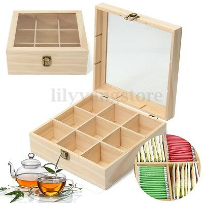 9 Compartments Wooden Tea Storage Box Container with Glass Top Chest Tin Gift