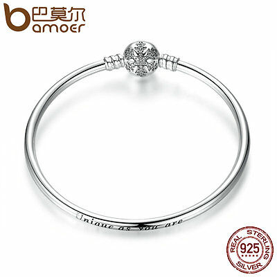 Bamoer LOVE S925 Sterling Silver Bracelet Bangle with Snowflake Clasp For Women