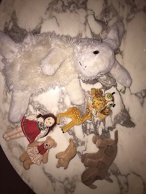 Steiff lot of 4 various animals + 2 hand made dolls - deer sold + not included