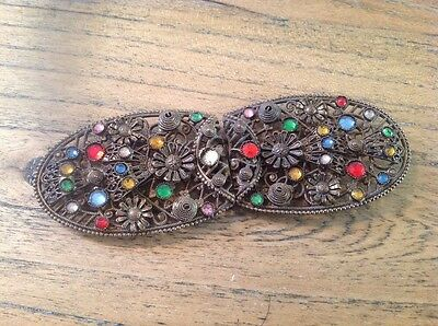 Vintage Belt Buckle Set With Stones Some Stones Missing