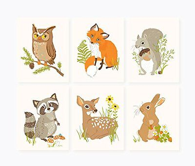 Sea Urchin Studio Print Set Woodland Forest Friends Wall Decor, New