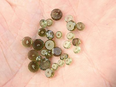 MOLDAVITE FACETED BUTTON BEADS DRILLED 28 PCS  - 2.2g #BRUS1568