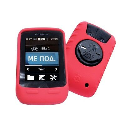 E-Volve Silicone Gel Skin Case for Garmin Edge Touring / Plus & Screen Prot -Red