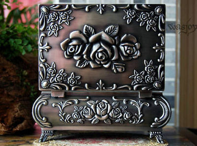 Gothic style Metal noble Jewelry Storage Box Flower Rose for Princess