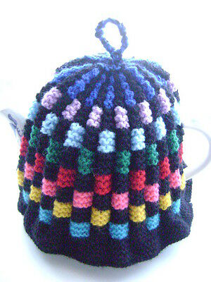 New Hand Knitted Multi Colour Tea Cosy~Large