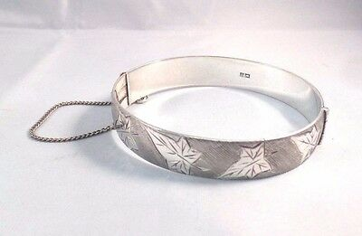 vintage solid silver hinged bangle leaf design 38g solid and heavy beautiful