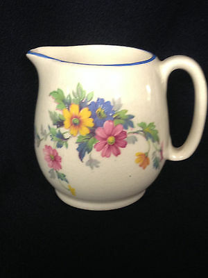 Royal Winton Grimwades England Mini Creamer Floral Flowers On One Side Blue Trim