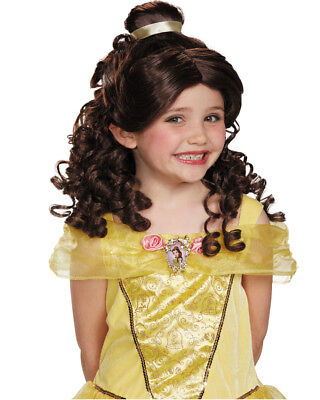 Child's Girls Disney Princess Belle Beauty And The Beast Brown Wig Accessory