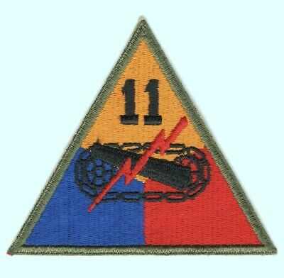 Army Patch: 11th Armored Division, cut edge, OD border