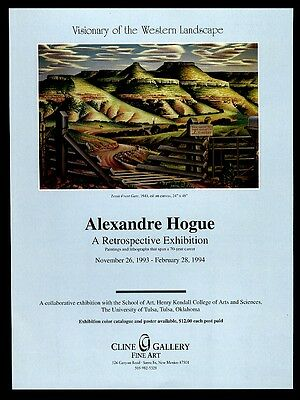 1994 Alexandre Hogue Texas Front Gate painting SF art gallery vintage print ad