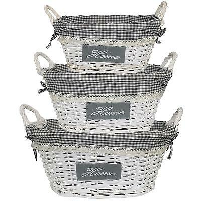 """Willow Woven Wicker Basket with Handles & Gingham Lining - GREY """"Home"""" 3 Sizes"""