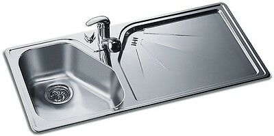 Rieber Ypsia Stainless Steel Sink 1.0 Bowl Brushed Steel Inc Waste Kit
