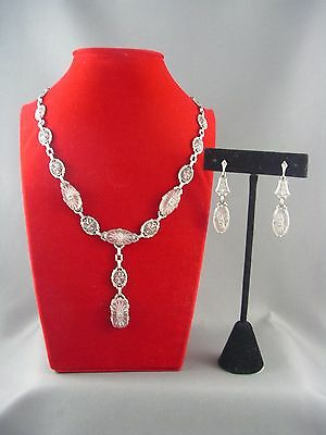 FINEST! 1920s Art Deco 14K White Gold Filigree Rock Crystal Diamond Necklace SET