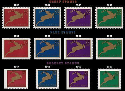 Holiday 1999 Reindeer Complete 12 Singles 3356-59 3360-3364-67 MNH - Buy Now