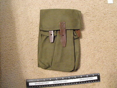 Romanian Green Canvas Long  3-Mag Pouch, Mint , unused