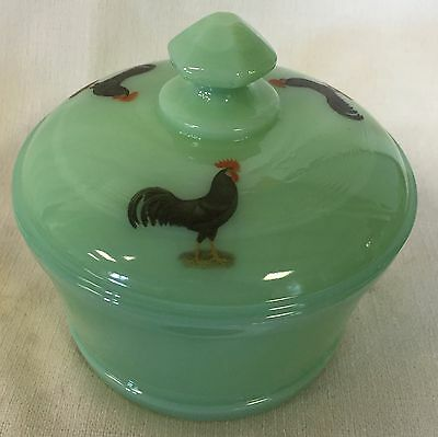 Jade Jadeite Jadite Milk Green Glass Round Covered Tub Butterdish Black Roosters