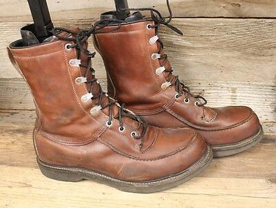 Mens Vintage Sears Leather Moc Toe Hunting / Work Boots Sz 11