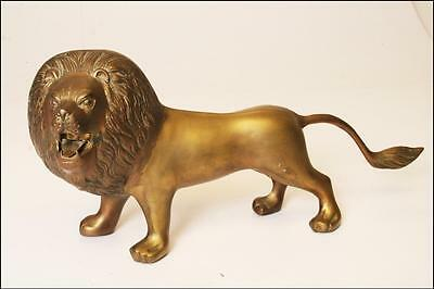 VINTAGE STANDING BRASS ROARING LION STATUE FIGURINE figure hollywood reg LARGE