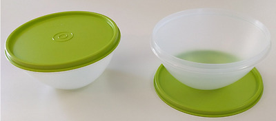 TWO x New Tupperware Wonderlier Bowls Set 2-cup Clear w/ Lime Green Seals New