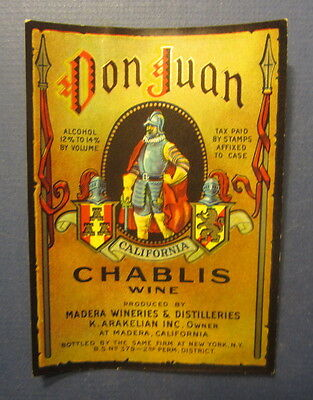 Old Vintage 1936 DON JUAN Chablis WINE LABEL - Madera California - K. Arakelian