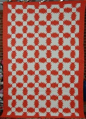 VIBRANT Vintage Red & White Pineapple Windmill Blades Log Cabin Antique Quilt!