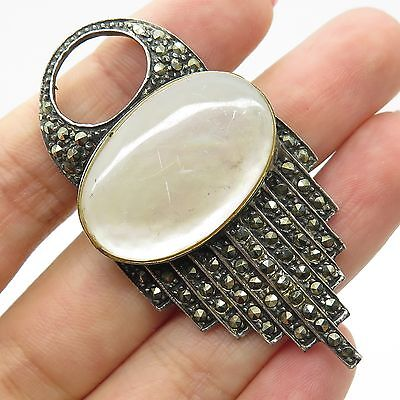 Vtg 925 Sterling Silver Real Mother-Of-Pearl Marcasite Gemstone Pin Brooch