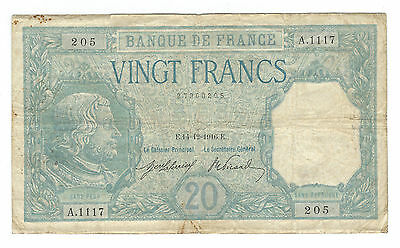 1916, France 1916-1918 Issue, 20 Francs Note. P-74 , Fine