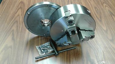 """10"""" 3-JAW SELF-CENTERING LATHE CHUCK top&bottom jaws w. L00 back adapter plate"""