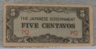 The Japanese Government Philippines Five Centavos Note WW2 WWII